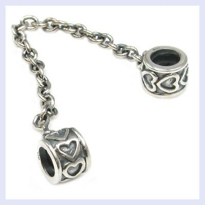 925 Sterling Silver Forever Hearts Safety Chain Bead for European Charm Bracelet Forever Heart Bead