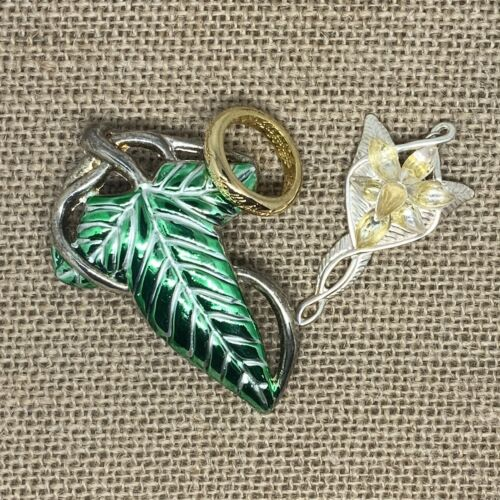 'Lord of the rings' costume jewelry Lothlorien leaf, evenstar pendant, one ring