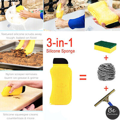 Silicone Sponge Multipurpose 3 in 1 Dish Scrubber Dish Brush Hosehold Kitchen