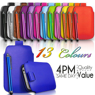 LEATHER PULL TAB SKIN CASE COVER POUCH AND STYLUS PEN FOR VARIOUS APPLE PHONES Skin Case Pen