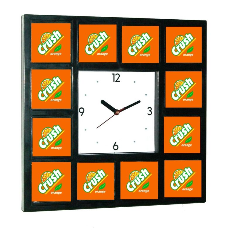 retro Orange Crush Clock sign promo around the Clock with 12 surrounding images