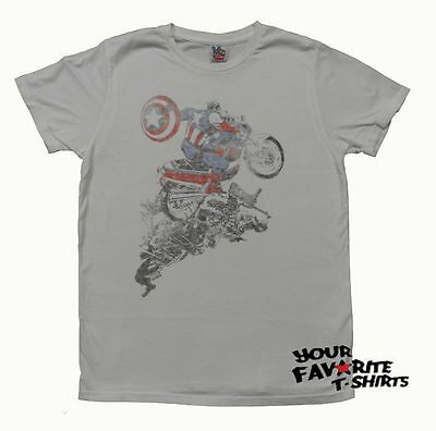 Captain America Shield Bike Junk Food Marvel Comics Licensed Adult T Shirt](Captain America Shield Adult)