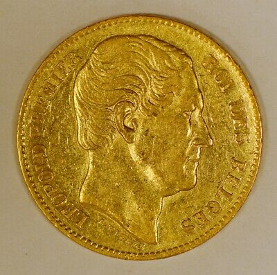 1865 Belgium 20 Francs Gold Coin for Leopold I