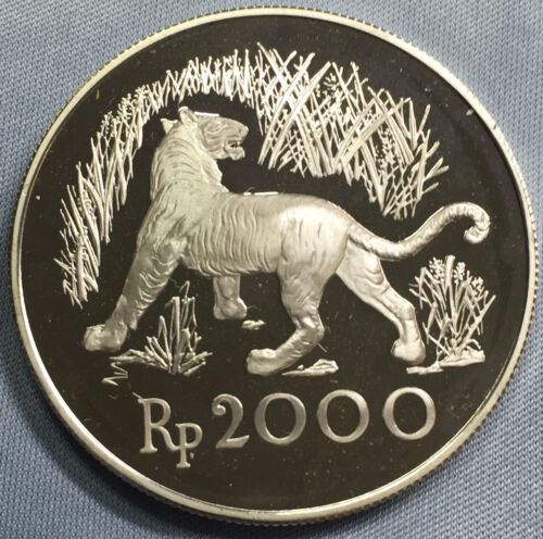 1974 Indonesia 2000 Silver Rupiah Proof Tiger FROSTY