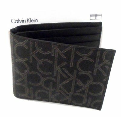 Calvin Klein Leather Bifold Wallet (Black) Silver Logo