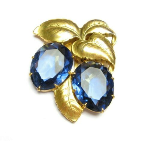 Vintage KTF Dress Clip 1930s Early TRIFARI Sapphire Fruit Gold Leaves Philippe