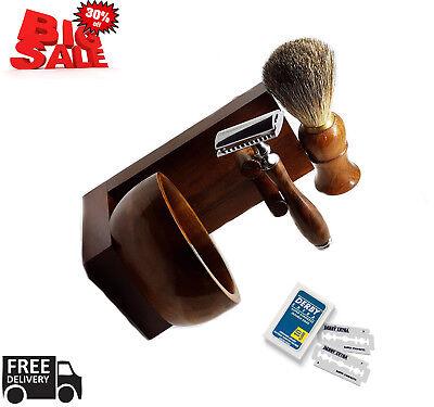 Men's Shaving Tool Set Gift Drip Brush Stand + Best Badger Hair Brush + Bowl
