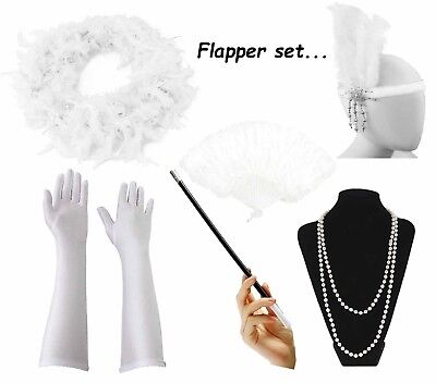1920's Womens Flapper Charleston Accessory White Set Gatsby Fancy Dress Costume - 20s Costume