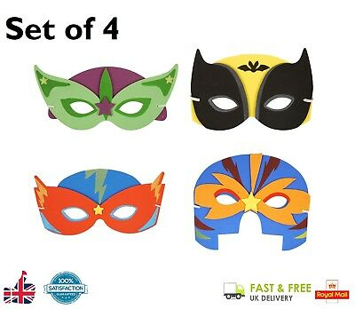 4 x SUPER HERO MASKS Adult Kids Cosplay Fancy Dress Party EVA Foam Mask Book - Foam Superhero Mask