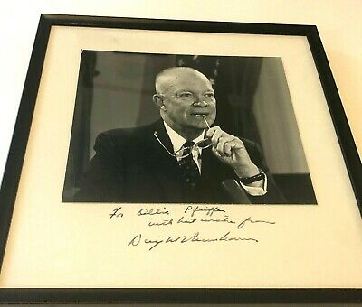 Signed and inscribed photo of Dwight Eisenhower, photo is 9 x 8, Frame 13 x 12