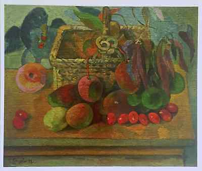 """GAUGUIN ORIGINAL VINTAGE 1972  LITHOGRAPH """" STILL LIFE WITH EXOTIC FRUIT """" 1902"""
