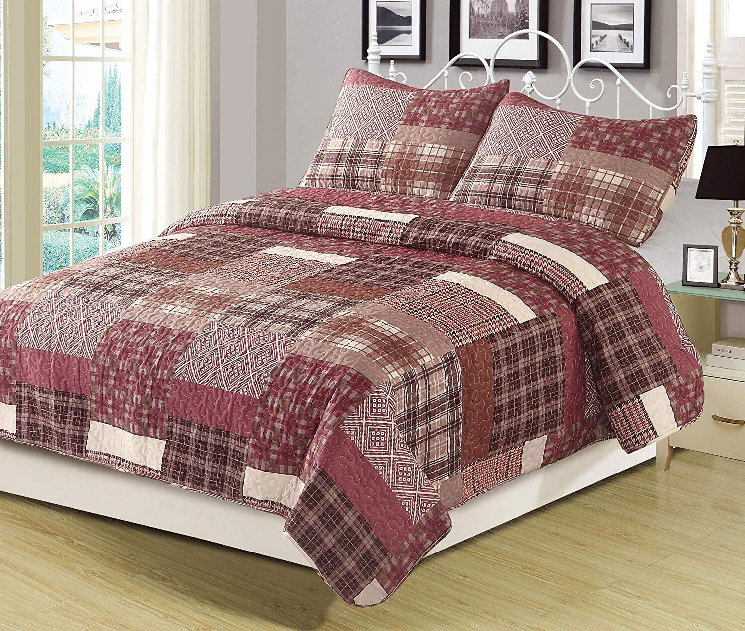 Twin Full/Queen or King Quilt Red Plaid Patchwork Bedspread Bedding Set Bedding
