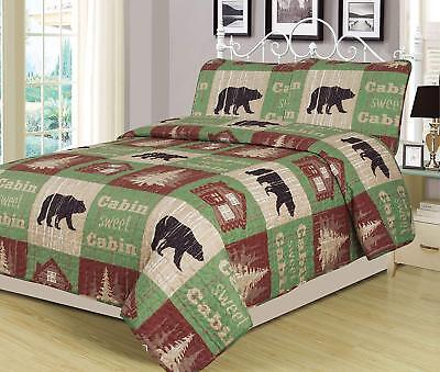 King, Full/Queen, Twin Quilt Bed Set or Curtain Panel Set Rustic Log Cabin Bear Log Bed Set