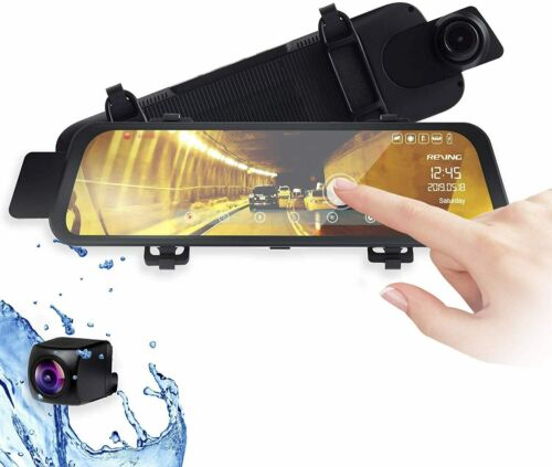 Rexing - M1 1296P Mirror Front and Rear Dash Cam - Black