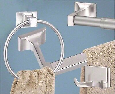 Satin / Brushed Nickel 4 Pc Bathroom Hardware Accessory Set