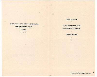 HOTEL TAMANACO INTERCONTINENTAL MENU' SEARS ROEBUCK VENEZUELA 1955 CARACAS