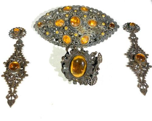 Antique Art Nouveau Orange Rhinestone Metal Pin Ring And Earrings Jewelry Set