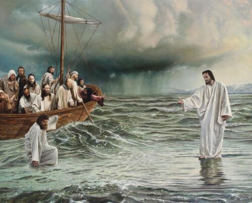 JESUS CHRIST WALKING ON WATER 8X10 PHOTO PICTURE CHRISTIAN ART