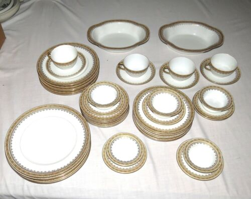 Limoges France Dinner Set Gold Green Orange 45 Pieces Plates Bowls Cups Ramekins