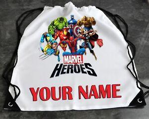 Personalised MARVEL HEROES Drawstring Swimming Gym Bag School PE Kit Rucksack