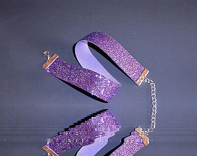Glitzer-Halsband / Choker -lila,feiner Glitter . Kropfband ,22 mm,Kostüm