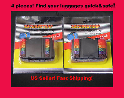4 TSA-OK Luggage Belt Suitcase Straps Rainbow Color Travel Baggage/Duffel Bags  on Rummage