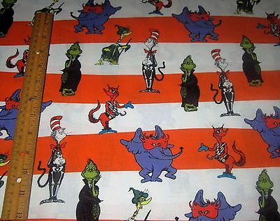 1 yard DR SEUSS CHARACTERS on ORANGE WHITE STRIPE 100% Cotton Fabric HALLOWEEN - Seuss Characters