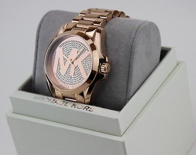 NEW AUTHENTIC MICHAEL KORS BRADSHAW CRYSTALS ROSE GOLD WOMEN'S MK6437 WATCH