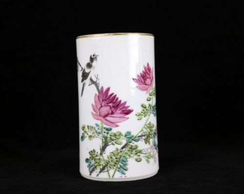 Antique Chinese Famille Rose Brush Pot ~ Bird Flower & Calligraphy c.1903