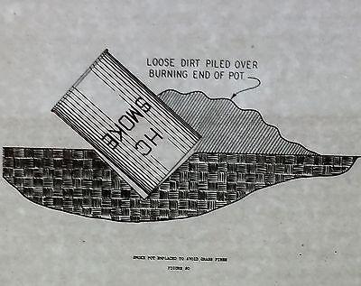 Fire Magic Pot - HC Smoke Pot Diagram: Placement to Avoid Grass Fires, Magic Lantern Glass Slide