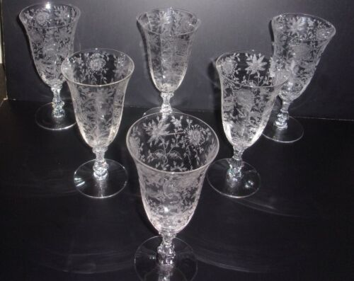 "6 Cambridge Glass Wildflower Etched 7"" Ice Tea 9 oz. Glasses / Stems / Goblets"