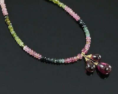 - 14kt Gold Faceted Watermelon & Pink Tourmaline Cluster Drop Necklace 16