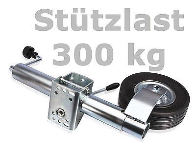 Anhängerstützrad Bugrad Trailer Stützlast 300kg Ø 60 mm Stützrad + Klemmschelle