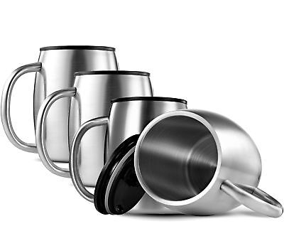 FineDine Double Wall 18/8 Stainless Steel Coffee Mugs with S
