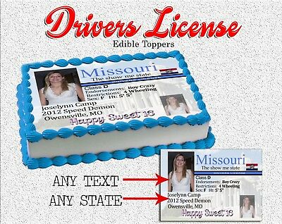 Drivers license Sweet sixteen Birthday Cake topper Edible paper sugar sheet - Sweet Sixteen Cake Toppers