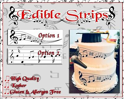 - Edible music notes strips for cakes sugar paper frosting images bar wraps easy
