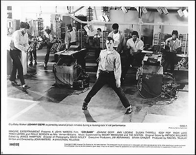 CRY BABY - 1990 - Original 8x10 Glossy Photo - JOHNNY DEPP - In Jail Singing!!!