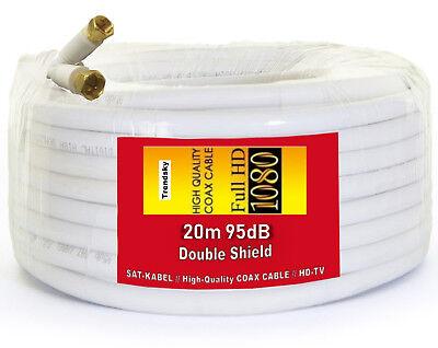PREMIUM 20m SAT KABEL 95dB UNICABLE KOAXIAL FULL HD 3D KOAX TV ANTENNENKABEL - 20 Kabel