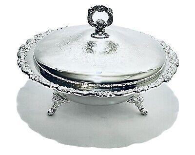 Tarnished Silver Plate Bowl Large Centerpiece Bowl! Filigree Design