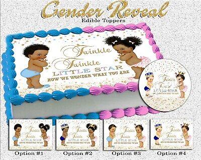 Twinkle twinkle little star gender reveal Cake topper Edible paper sugar sheet
