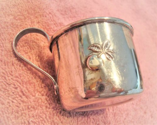 Vintage STERLING SILVER BABY CUP Infant Cup 31.9 gr FISHER Embossed Fruit XLNT