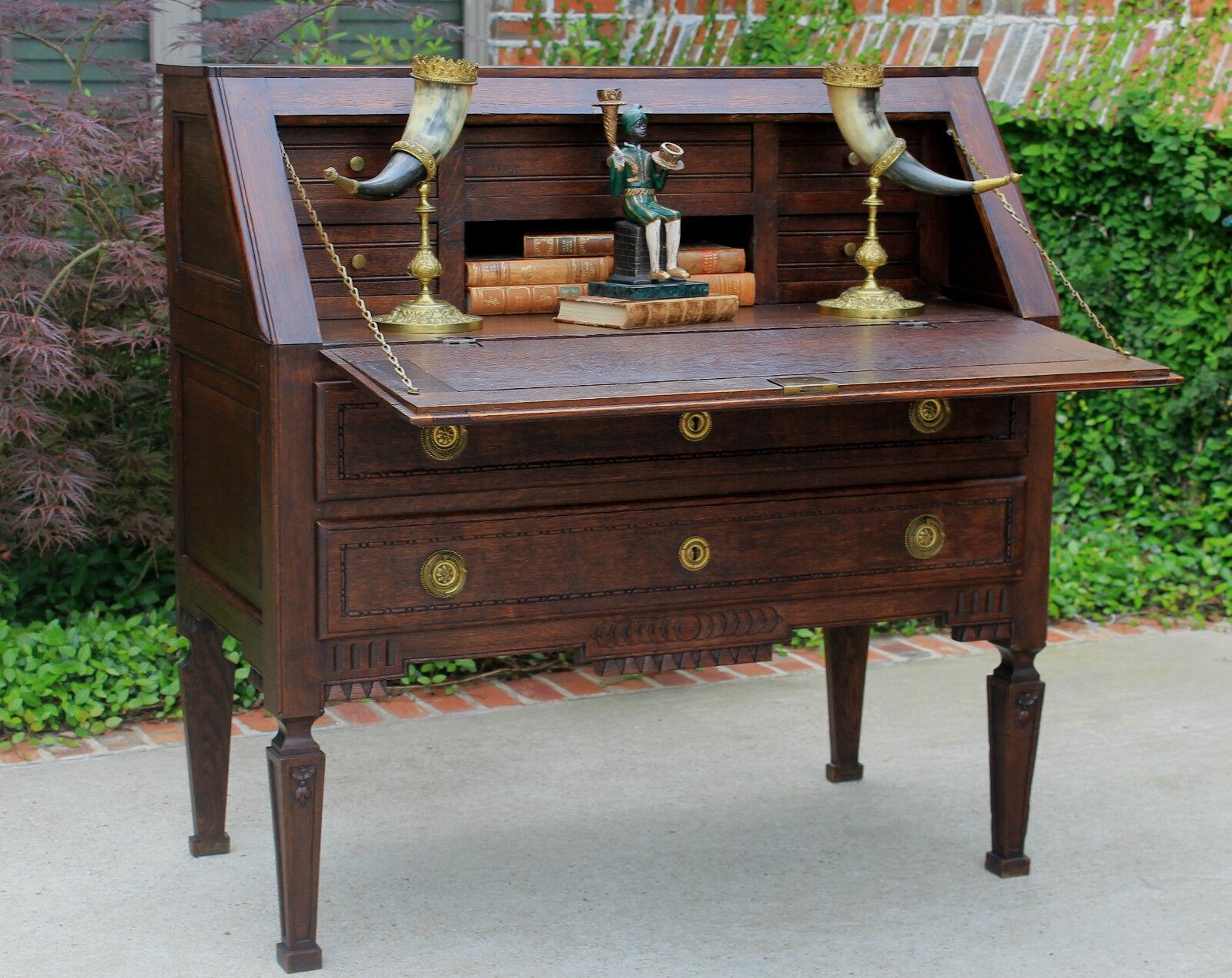 Antique french unique dark oak fall front writing desk for Unusual writing desks