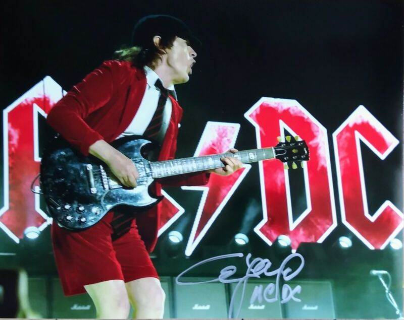 ANGUS YOUNG AUTOGRAPHED AC/DC 8x10 PHOTO