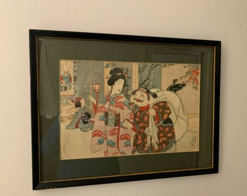 Original ANTIQUE JAPANESE WOODBLOCK PRINT Geisha Girl & Client Tea House Signed