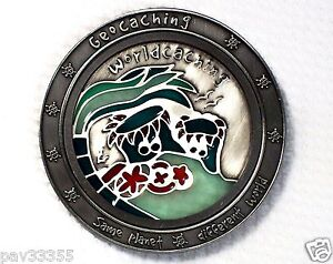 Worldcaching Ocean Suncatcher in Antique Silver - New Geocoin Unactivated