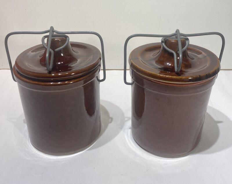 Pair of Vintage Brown Stoneware Crocks with Bail Lids, Seals