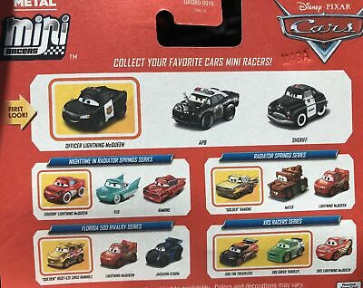 DISNEY PIXAR CARS MINI RACERS OFFICER LIGHTNING MCQUEEN SHERIFF APB 3 PACK