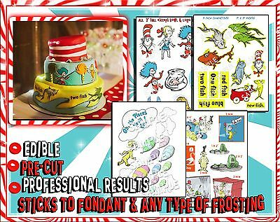 Cat in the hat edible Cake stickers characters fondant ideas toppers paper easy