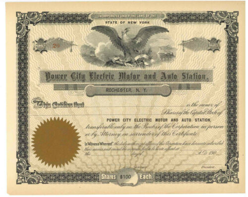 Power City Electric Motor and Auto Station Stock Certificate.Rochester, New York