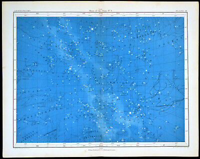 MAPS OF THE STARS #4 1856 Alex Johnston ANTIQUE CHART